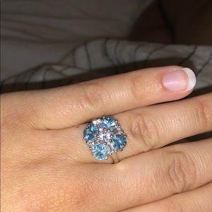Ratanakiri Blue Zircon and white topaz Ring